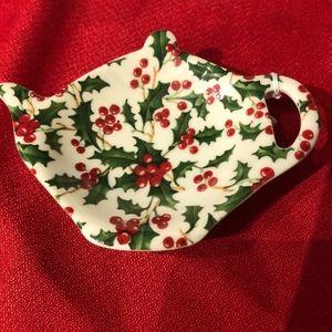 Christmas  Holly Tea China Tea Bag Holder Caddy .